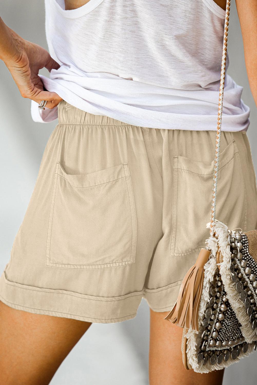卡其色松紧束带微皱舒适休闲口袋短裤 LC77215
