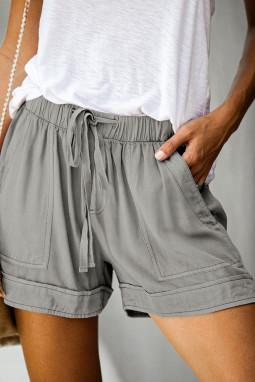 灰色松紧束带微皱舒适休闲口袋短裤