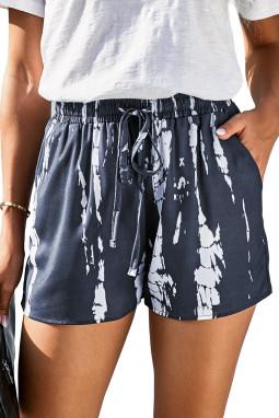 灰色时尚扎染抽绳休闲短裤