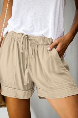 卡其色松紧束带微皱舒适休闲口袋短裤