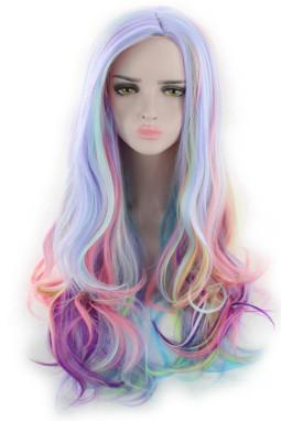 唯美彩虹色长卷假发