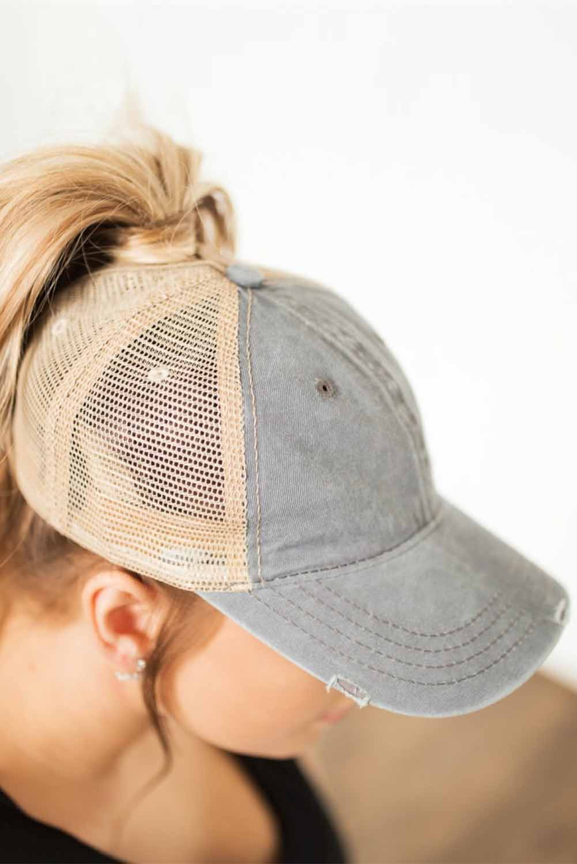 灰色复古水洗透气网眼棒球帽 LC02095