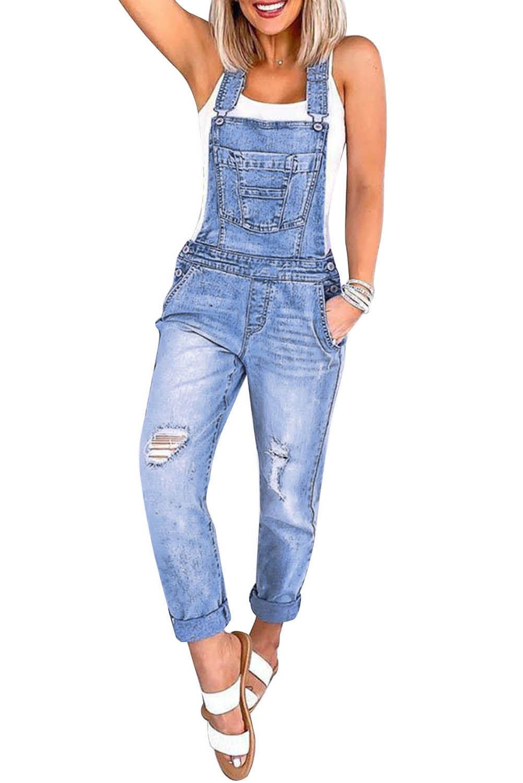 浅蓝色磨破可调式牛仔背带工装连身裤 LC64439