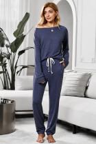藏青色复古圆领长袖上衣松紧抽绳长裤宽松家居服套装