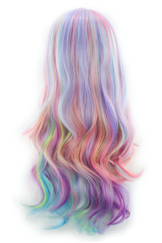 唯美彩虹色长卷假发 LC02009