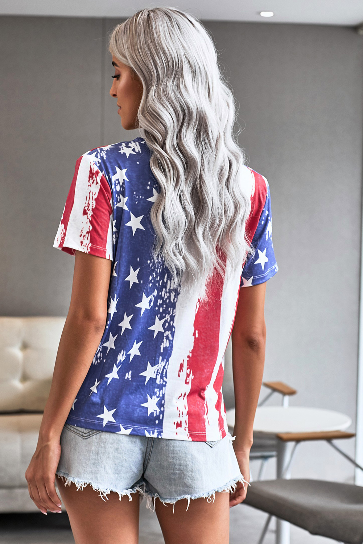 星星条纹印花镂空简约休闲短袖T恤 LC252026