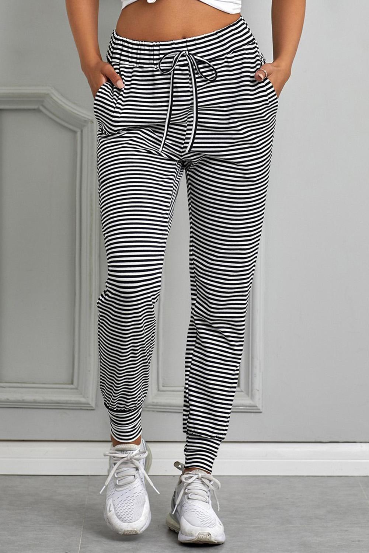 黑色条纹松紧束带舒适侧袋收脚运动休闲长裤 LC77329