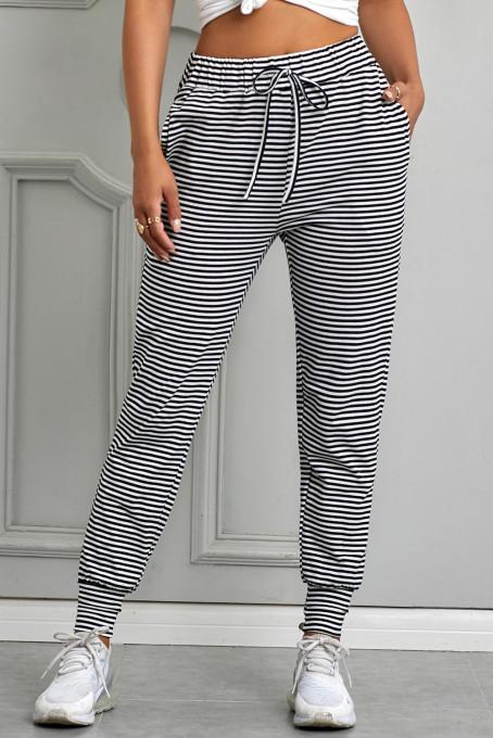 黑色条纹松紧束带舒适侧袋收脚运动休闲长裤