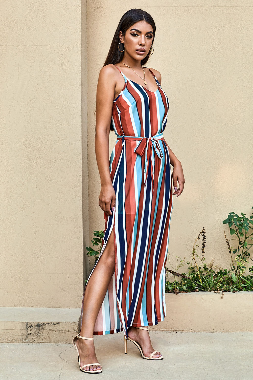 时尚拼色条纹V领无袖高位开叉休闲宽松长裙 LC611169