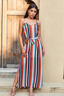 时尚拼色条纹V领无袖高位开叉休闲宽松长裙