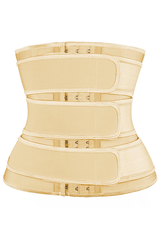 米黄色9钢骨腰部训练三排钩设计舒适塑身衣 LC51077