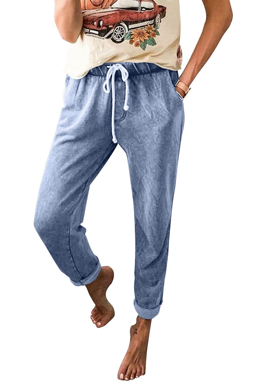 浅蓝色抽绳运动休闲哈伦牛仔裤 LC78001
