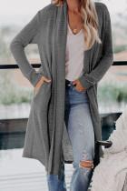 灰色休闲口袋宽松舒适长款针织开衫