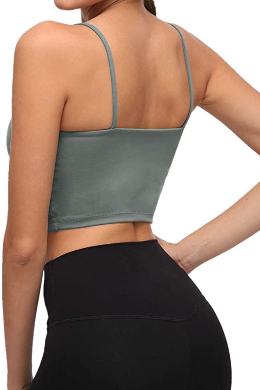 灰绿色透气弹力瑜伽文胸运动背心 LC264040