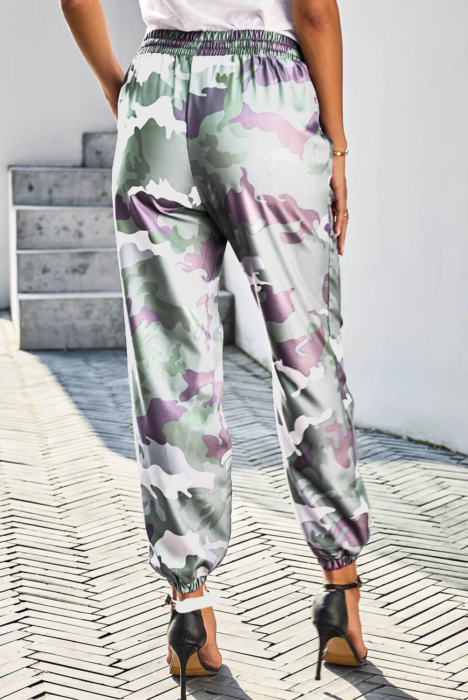 绿色迷彩抽绳松紧腰身束脚运动休闲裤子 LC77032