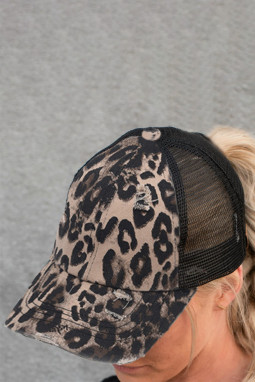 黑色豹纹印花透气舒适遮阳帽