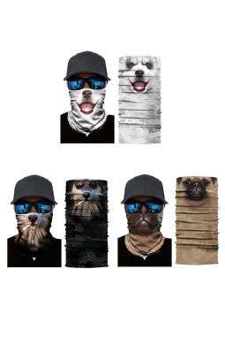 3件组合动物图案户外骑行摩托车头巾防晒保暖面罩