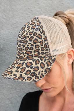 时尚豹纹印花透气舒适遮阳帽
