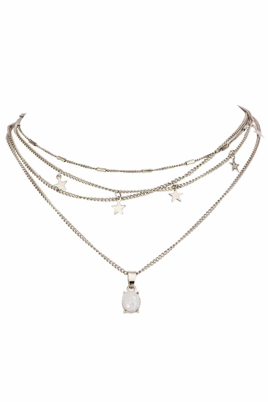 时尚分层星星吊坠项链 LC01243
