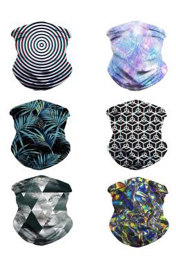6件组合时尚图案舒适透气多功能户外运动围脖头巾面罩