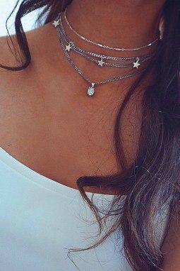 时尚分层星星吊坠项链
