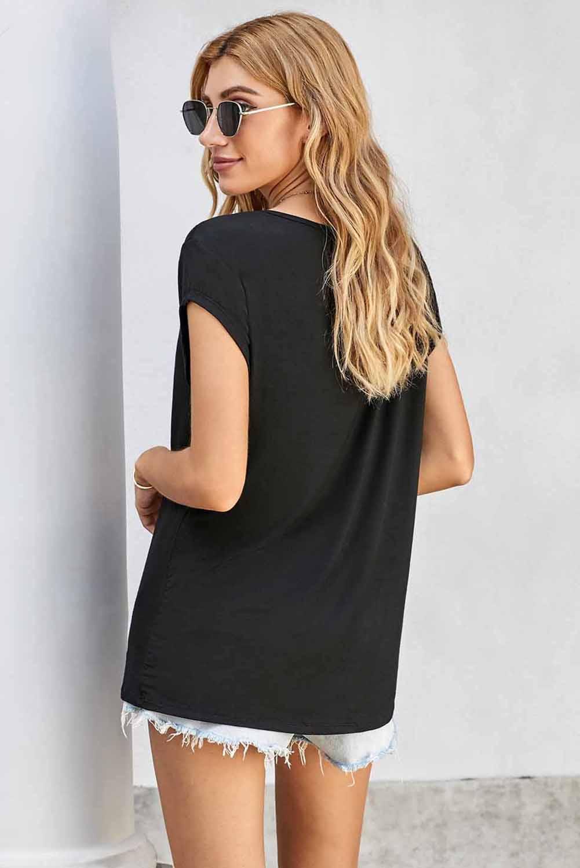 时尚睡莲嘴唇图案黑色圆领短袖T恤 LC253633