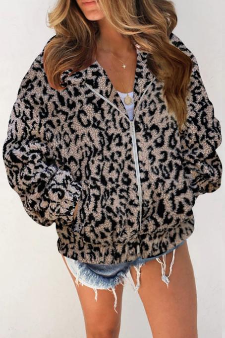 时尚豹纹印花夏尔巴保暖毛绒拉链外套
