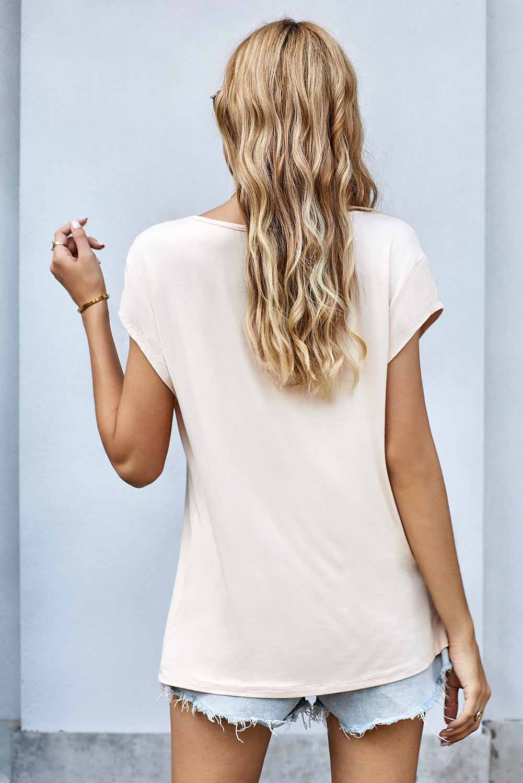 时尚睡莲嘴唇图案米色圆领短袖T恤 LC253633