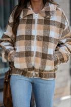 棕色格子印花夏尔巴保暖毛绒拉链外套