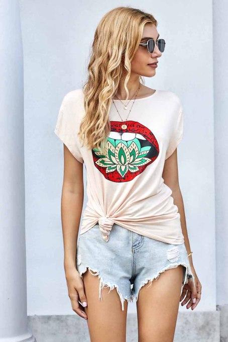 时尚睡莲嘴唇图案米色圆领短袖T恤