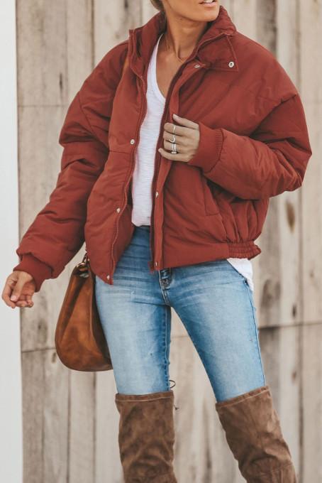 红色冬季保暖拉链按扣时尚舒适棉服外套