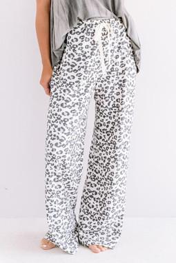 白色时尚豹纹宽松休闲长裤