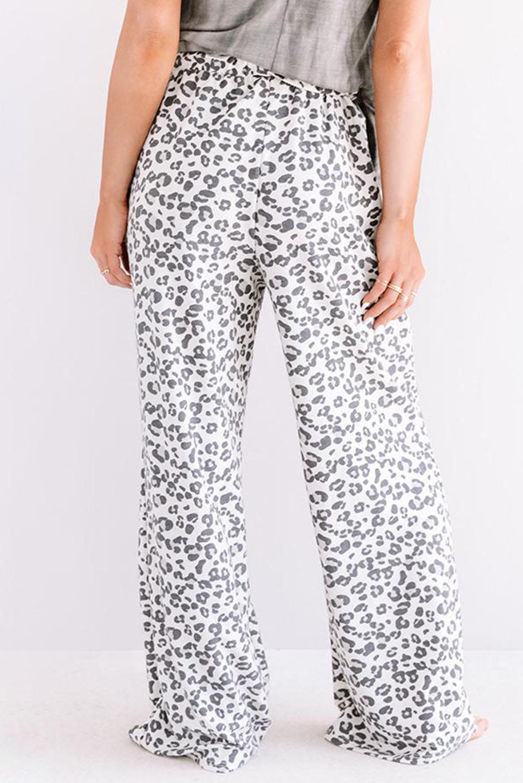 白色时尚豹纹宽松休闲长裤 LC77474