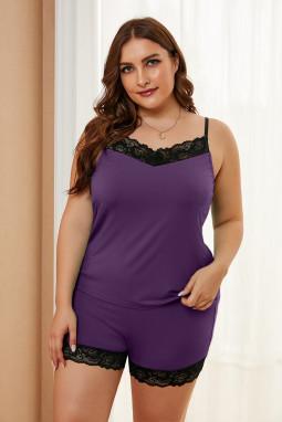 紫色精美蕾丝饰边加大码舒适休闲家居睡衣套装