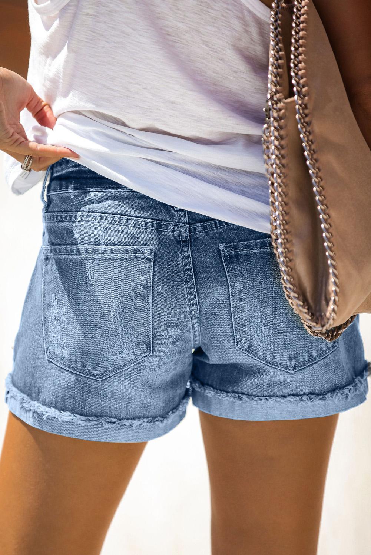 仿旧翻边磨损浅蓝色牛仔短裤 LC77173