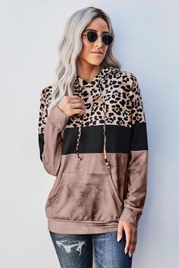 时髦豹纹拼色袋鼠口袋长袖连帽衫
