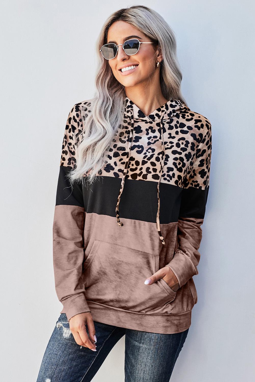 时髦豹纹拼色袋鼠口袋长袖连帽衫 LC2511141