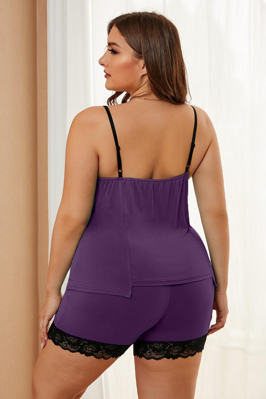 紫色精美蕾丝饰边加大码舒适休闲家居睡衣套装 LC43204