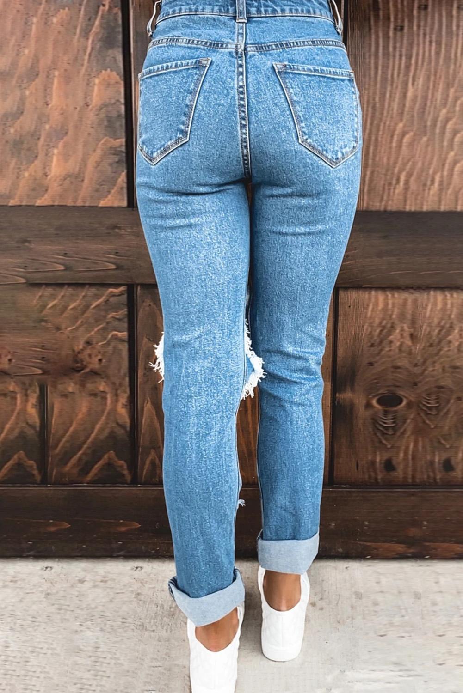 蓝色仿旧磨损破洞牛仔裤 LC78138