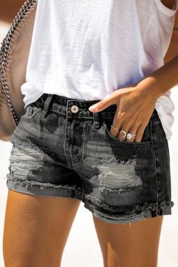 仿旧翻边磨损黑色牛仔短裤