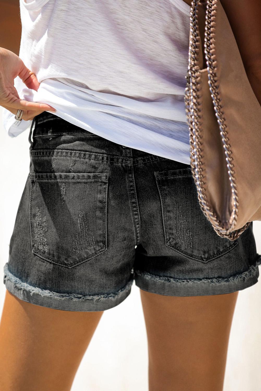 仿旧翻边磨损黑色牛仔短裤 LC77173