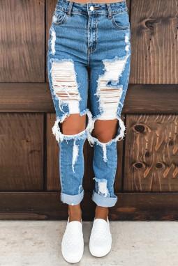 蓝色仿旧磨损破洞牛仔裤