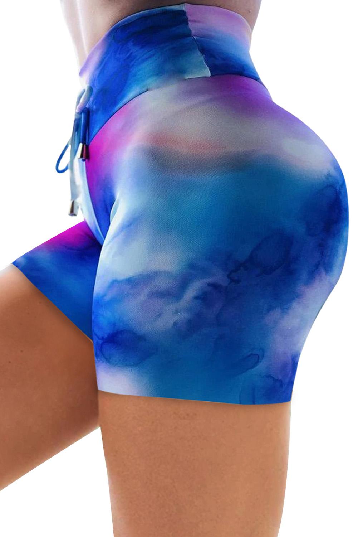 蓝色高腰扎染印花运动短裤 LC263203
