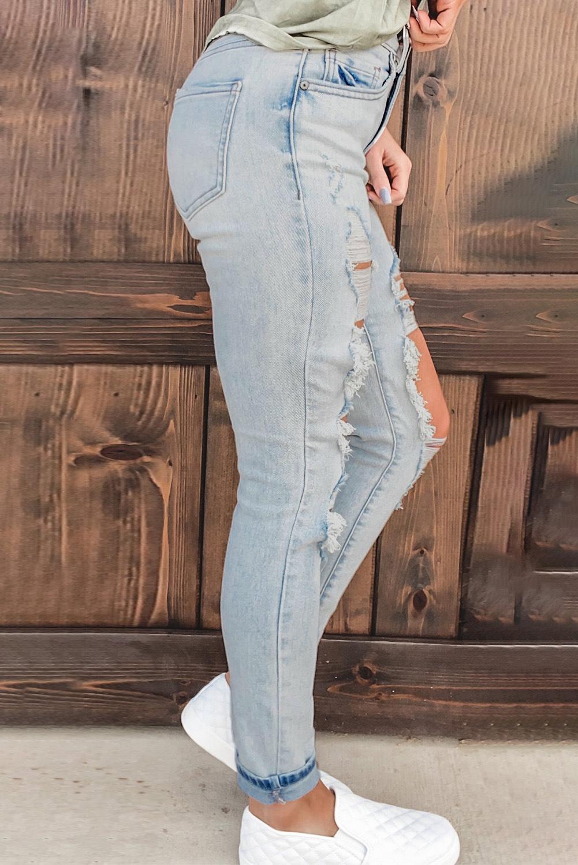 复古水洗仿旧破洞高腰牛仔裤 LC78039
