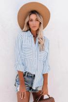 天蓝色袖袢设计长袖条纹纽扣衬衫