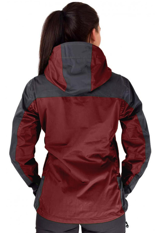 酒红色防水拉链运动休闲冲锋衣连帽夹克 LC851158