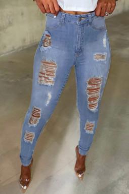 浅蓝色镂空撕裂仿旧口袋高腰牛仔裤
