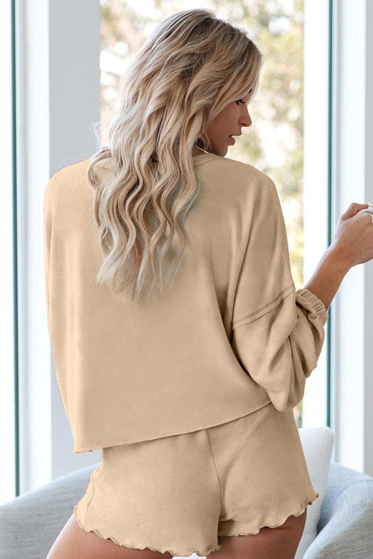 卡其色长袖套头衫和短裤休闲家居套装 LC451222
