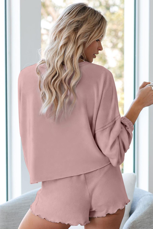 粉色长袖套头衫和短裤休闲家居套装 LC451222