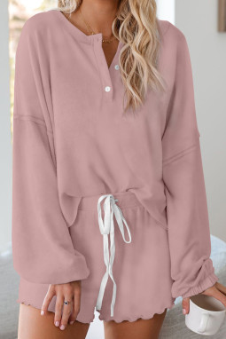 粉色长袖套头衫和短裤休闲家居套装
